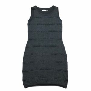 Calvin Klein Wool Sleeveless Stripped Detail Dress